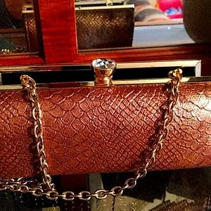 Kate Landry croco evening clutch with rhinestone